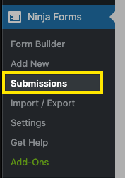 """Submissions"" selected under Ninja Forms"