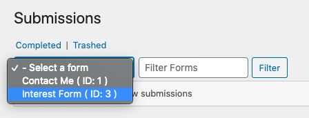 "Selecting ""Interest Form"" under submissions tab"